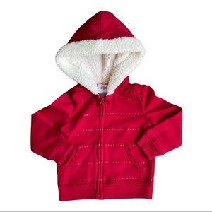 Circo girls red Sherpa lined hoodie with stars
